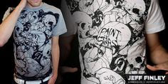 """""""Skulls and Scrolls (Paint the Stars)"""" t-shirt design by jfinley"""