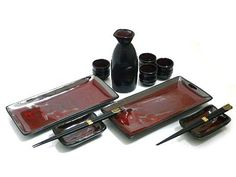 Maroon Cherry Blossom Sushi and Sake Set for Two - Long Plates