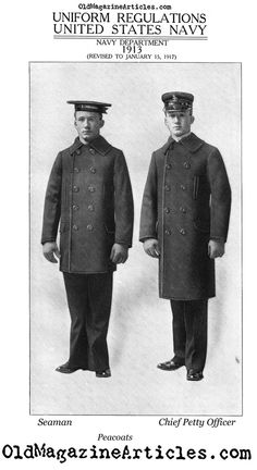 WWI-era U.S. Navy pea coats (left, Seaman; right, Chief Petty Officer).