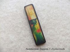 """Sailboat at Sunset Gold Green Coral vintage 70s polaroid style No.SS6 MatchStick ART 1/2 x 1"""" Tile Pendant Earrings"""