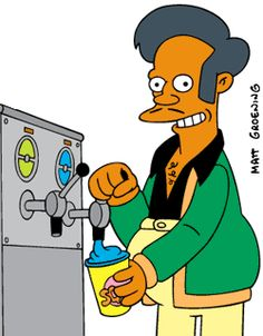 Apu from the Simpsons is a great example of a South Asian visual stereotype. Apu is the owner of a convenient store in the popular show the Simpsons who bears the thick accent, the job description, and the unreasonably long last name.
