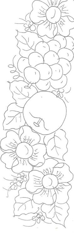 Berries and flowers Hand Embroidery Patterns, Floral Embroidery, Embroidery Designs, Colouring Pages, Coloring Books, Pattern Art, Pattern Design, Pottery Painting Designs, Wood Burning Patterns