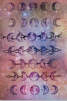 moon phases. The bottom one and third from the bottom I love.