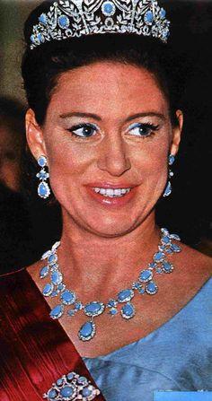 Princess Margaret, wearing the full turquoise parure