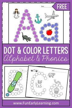 Dot and Color Letters and Sounds Activity. Free printable for preschool, kindergarten, and education. Great way to learn letters, letter-sounds, and phonics! - Kids education and learning acts Preschool Projects, Preschool Literacy, Preschool Letters, Free Preschool, Learning Letters, Letters Kindergarten, Teaching Letter Sounds, Preschool Ideas, Preschool Letter Worksheets