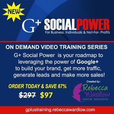Savvy BIZ Solutions w.Norma Doiron / On Demand Video Training Series for Google+. G+ Social Power is your roadmap to leveraging the power of Google+ to build your brand, get more traffic, generate leads and make more sales! #SavvyBIZSolutions