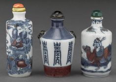 Three underglazed blue and copper red porcelain snuff bottles 19th century