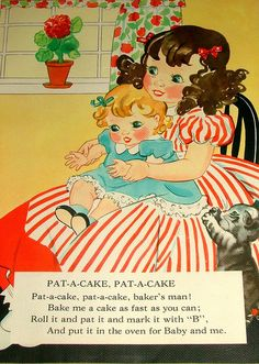 Page From Vintage Linen Nursery Rhymes Book