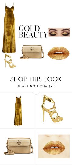 """""""everything is gold"""" by carrasquilla-kyla ❤ liked on Polyvore featuring Galvan, Giuseppe Zanotti and Tory Burch"""