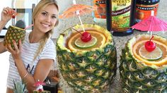 The Pineapple Mai Tai Cocktail is a super sexy drink. This drink is served in a hallowed out pineapple. This drink is made from: White Rum, Dark Rum, Party Drinks, Cocktail Drinks, Cocktail Recipes, Cocktail Desserts, Triple Sec, Non Alcoholic Drinks, Beverages, Smoothies, Tipsy Bartender