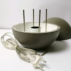 """LAMPE GAYALUX - BBC Boracay says: Details of an amazing concrete lamp - Next photo shows the lamp in """"action""""...."""