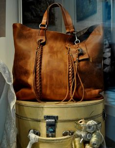 Ralph Lauren - Just love brown leather totes.
