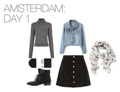 Amsterdam: Day 1 by skittlebug1 on Polyvore featuring Equipment, AG Adriano Goldschmied, H&M, Sam Edelman and Disney