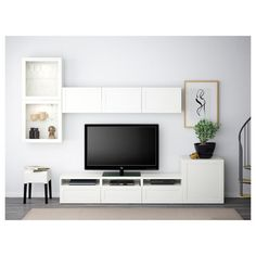 IKEA BESTÅ, TV storage combination glass doors, white, Selsviken high gloss white clear glass, The drawers have integrated push openers so that you can open them with just a light push. The space saving wall cabinets make the most of the wall area above Ikea Living Room, Living Room Trends, Living Room Furniture, Tv Storage, Storage Spaces, Record Storage, Frame Shelf, Colorful Furniture, Cheap Furniture