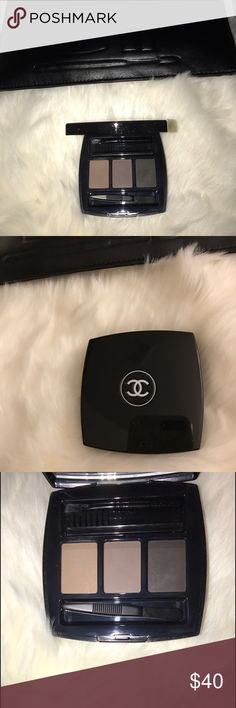 Rare CHANEL perfect brows kit Authentic Chanel. This brow kit is no longer available by Chanel, but there is a brow powder duo. This kit has three shades. Packaging is in great, clean condition - no scratches, odor, etc. The colors have been swatched once, on the back of my hand. Eyebrow tools unused. It's $100 or more on other websites! Don't hesitate to ask questions! Happy poshing 🙂 Cheaper on Ⓜ️ CHANEL Makeup Eyebrow Filler