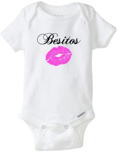 Baby Girl Besitos Onesie Kisses Besos Spanish by RKCreativeImpression Baby Shower Parties, Baby Shower Gifts, Baby Showers, Baby Shirts, Handmade Baby, Toddler Fashion, Trendy Baby, Baby Pictures, Kisses