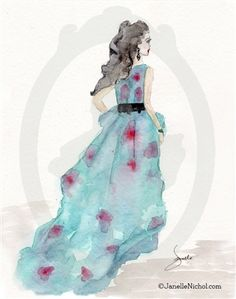 """Janelle's Sketches done as Watercolors. This Cerulean blue and red chiffon dress on this graceful dark-haired woman is part of """"The WC Collection"""" from Janelle Nichol and is available for purchase and licensing. Watercolor Dress, Dress Painting, Watercolor Images, Watercolor Paintings, Red Chiffon, Chiffon Dress, Blue Fashion, Fashion Art, Fashion Illustration Vintage"""