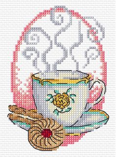 Durene Jones Tea and Biscuits Cross Stitch Beginner, Small Cross Stitch, Cross Stitch Kitchen, Cross Stitch Cards, Cross Stitch Flowers, Counted Cross Stitch Patterns, Cross Stitch Designs, Cross Stitching, Cross Stitch Embroidery