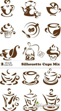 Силуэт чашки, кофе и чай, векторный клипарт