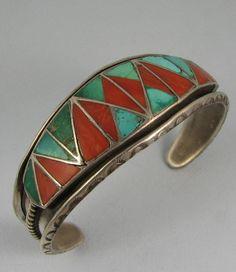 Zuni HELEN/LINCOLN ZUNIE Coral/Turquoise Inlay Bracelet