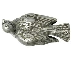 1 1/2 Inch Solid Pewter Dove Bird Knob (Matte Pewter Finish)