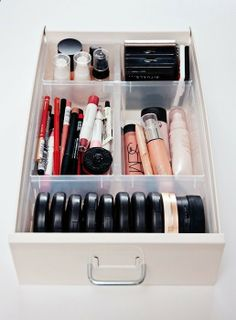 plastic IKEA inserts called ANTONIUS to organize makeup