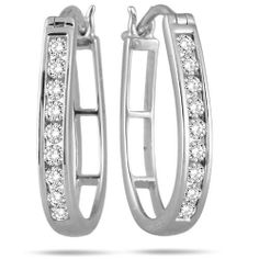 1/2 Carat Diamond Hoop Earrings in 10k White Gold Szul. $199.00. Save 66% Off!