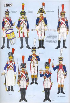 French; Line Infantry, Head of Column, 1809. The use of red or crimson facings for the Tete a Column was fairly common prior to the Bardin Regulations of 1812 and these figures could represent several regiments of both Line & Light Infantry in 1809(see individual Cdt Bucquoy plates).