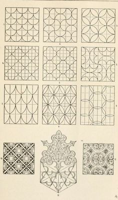 Repeating patterns - inspiration for unique tangle patterns. From https://archive.org/stream/handbookoforname00meyerich