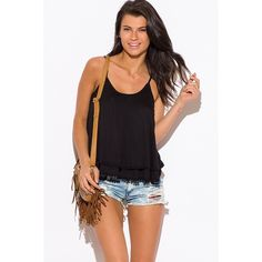 """Black Tiered Tank Top #591 Soft & lightweight rayon swings as the tiered layers fall effortlessly on you. Crochet trim is lined all throughout the hem to give you a cute boho look! 100% rayon, made in USA. Model is 5'9"""", chest 32C, waist 25"""", hips 35"""", wearing a size small. PRICE IS FIRM! Tops"""