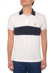 858ede3f458 Gant White Polo Shirt with Navy Collar