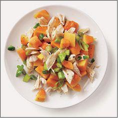 Spicy Crab-Papaya Salad by Cooking Light Papaya Recipes, Salad Recipes, Healthy Recipes, Healthy Food, Fruit Recipes, Shellfish Recipes, Seafood Recipes, Cooking Light, Salads