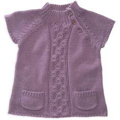 Фиолетовая туника с карманами, для девочки. Туника с карманами спицами