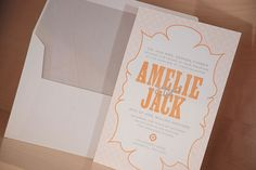 Pretend the wood-type is actually script like calligraphy, and change the colors.  The envelope liner can be customized with any map!