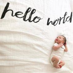 Precious birth announcement - love this Modern Burlap keepsake blanket!