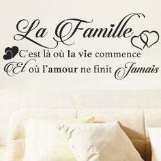 "Stickers Sticker Mural Texte ""La famille c'est là où la vie"