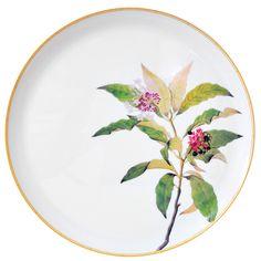 Plat à tarte 32 cm en porcelaine de la collection Jardin indien Bernardaud