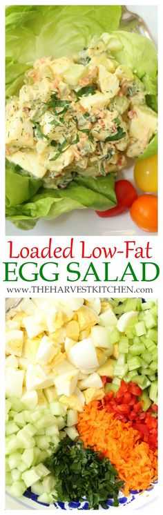 Low Fat Egg Salad - The Harvest Kitchen This Loaded Low-Fat Egg Salad is loaded with veggies for the added flavor, crunch and nutritional benefits. Loaded Low-Fat Egg Salad is loaded with veggies for the added flavor, crunch and nutritional benefits. Healthy Salad Recipes, Healthy Snacks, Healthy Eating, Healthy Recipes With Eggs, Healthy Egg Salad, Low Fat Snacks, Vegetable Salad Recipes, Skinny Recipes, Clean Eating Recipes