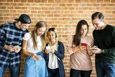 Happy friends using smartphones social media concept   premium image by rawpixel.com