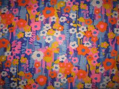 Vintage loose knit woven retro 70s daisy floral fabric danish modern ...