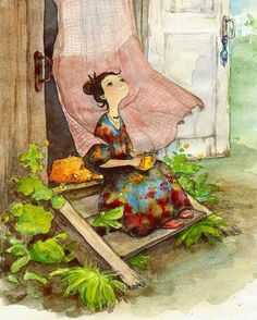 Lady and cat on step cartoon illustration via www.Facebook.com/GleamOfDreams