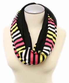 Look at this #zulilyfind! TROO Black & Pink Stripe Infinity Scarf by TROO #zulilyfinds