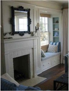 Built in seats next to fireplace?  Do we have room for this?  If so...could be used to hide cables and DVD player, etc., for flat screen tv over fireplace! Window Benches, Idea, Bay Window, Mantel, Fireplaces, Reading Nooks, Windowseat, Hous, Window Seats