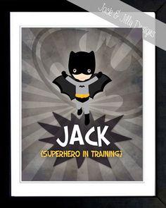 PERSONALIZED SUPERHERO in TRAINING Print - 8x10 - You choose the Superhero! - Batman on Etsy, $11.50