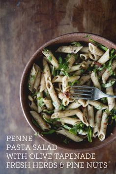Penne Pasta Salad with Olive Tapenade, Fresh Herbs & Pine Nuts: A great vegetarian dinner pasta dish. The combo of flavors in this recipe will have you making this time and time again. Click the source for the details.