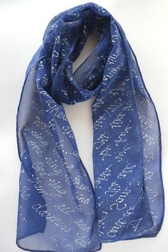 Blue book quote scarf from LOTR lord of the rings by silkiness