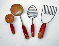 Vintage Antique Rustic Red Wooden Handled Farmhouse Kitchen Utensils