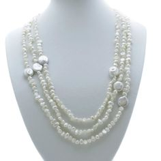 Fashionable rope length white pearl necklace, which can be worn single strand or double looped, or twisted and joined with a necklace shortener. Long Pearl Necklaces, White Pearl Necklace, Freshwater Pearl Necklaces, Pearl Jewelry, Pearl White, Fine Jewelry, White Jewelry Box, Jewellery Boxes, Pearl Color