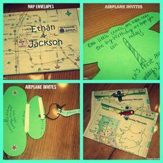 Kayla's Creations: airplane birthday party invites & map envelopes DIY