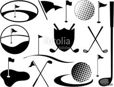 "Black and White Golf Icons"" Stock image and royalty-free vector ..."